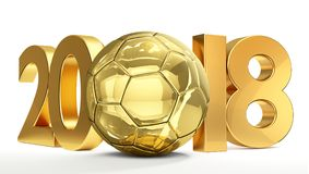 Golden soccer football ball 2018 isolated 3d rendering. Design graphic Stock Photos