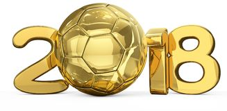 2018 golden soccer football ball symbol 3d rendering. 2018 golden soccer football ball symbol rendering illustration graphic Stock Images