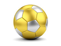 Golden soccerball on white closeup Royalty Free Stock Photos
