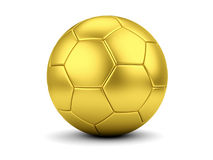 Golden soccerball on white closeup Stock Images