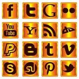 Golden Social Media Icons Royalty Free Stock Photography