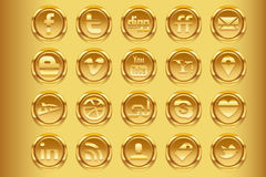 Golden Social Media v1 Stock Image