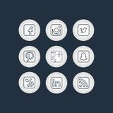 Golden Social Network Icons Stock Photography