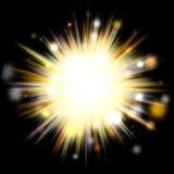 Golden Solar Burst. A bright exploding burst over a black background Stock Photos