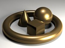 Golden Solids. Golden solid shapes resembling a cone, a torus, a cube and a sphere Stock Images
