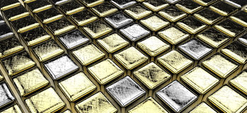 Golden (and some silver) cubes. Background Royalty Free Stock Photography