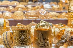 Golden souk objects in Dubai Royalty Free Stock Photos