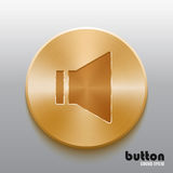 Golden sound speaker button. Round sound speaker button with brushed golden metal texture isolated on gray background Royalty Free Stock Photos