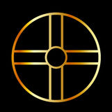 Golden southern cult solar cross Royalty Free Stock Images