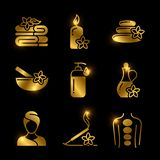Golden SPA, massage, relaxing vector icons of set royalty free illustration