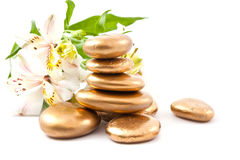 Golden spa stone and lily Royalty Free Stock Image