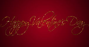 Golden sparkle glitter happy valentine day word shape on red gradient background with alpha channel matte, holiday valentine day stock footage