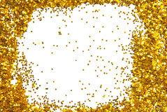 Golden sparkle glittering frame. Closeup of the golden sparkle glittering frame Royalty Free Stock Image
