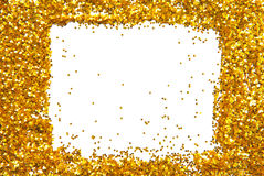 Golden sparkle glittering frame Stock Photography