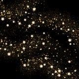 Golden sparkle light effect sand. Gold glittering star Stock Image