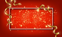 Golden sparkle particle and falling ribbon background. Vector il vector illustration