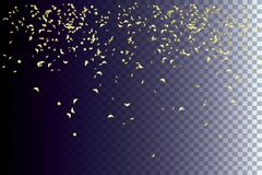 Golden sparkles of confetti flying and swirling down on a white background. Festive decor for Christmas and New Year. Golden sparkles of confetti flying and Royalty Free Stock Photo