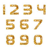 Golden sparkles font numbers Stock Image