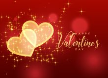 Golden sparkles hearts on red background for valentine`s day. Illustration Royalty Free Stock Image