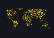 Golden sparkles World map Stock Image