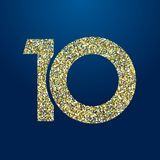 Golden sparkling 10 anniversary. 10 th years old logotype. Isolated golden color abstract dot graphic symbol of 10%. Shiny straight elegant cut label design royalty free illustration