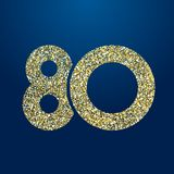 Golden sparkling 80 anniversary. 80 th years old logotype. Isolated golden color abstract dot graphic symbol of 80%. Shiny straight elegant cut label design royalty free illustration