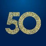 Golden sparkling 50 anniversary. 50 th years old logotype. Isolated golden color abstract dot graphic symbol of 50%. Shiny straight elegant cut label design stock illustration