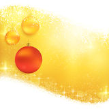 Golden sparkling Christmas background. Hanging Christmas ornaments on a shiny golden background with light effects, magical stars and glittering snowflakes Stock Images