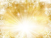 Golden sparkling Christmas background with snowflakes Stock Photos