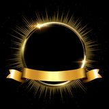 Golden sparkling ring with rays and glitter and golden ribbon isolated on black background. Vector golden frame. Golden sparkling ring with rays and glitter and Stock Image