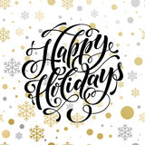 Golden sparkling text and background Happy Christmas Holidays. Golden sparkling text and background for Happy Winter Holidays. Vector christmas winter pattern of Royalty Free Stock Photo