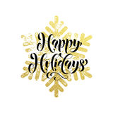 Golden sparkling text and background Happy Christmas Holidays Stock Photography