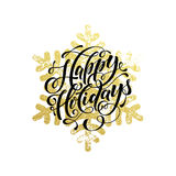 Golden sparkling text and background Happy Christmas Holidays Stock Photo