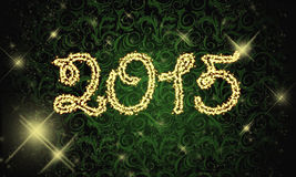 2015 golden sparks. Golden glow shining sparks fireworks 2015 new year Stock Photo