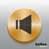 Golden speaker button with black symbol. Round speaker button with black symbol and brushed golden metal texture isolated on gray background Stock Images