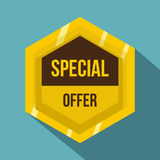 Golden special offer label icon, flat style Stock Images