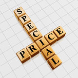 Golden special price like crossword Stock Photography