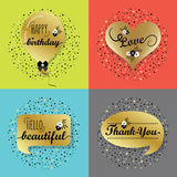 Golden speech bubbles and balloon labels set Stock Images
