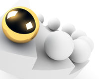 Golden sphere leadership conception Stock Photography