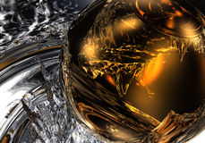 Golden sphere in liquid silver 01 Stock Image