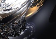 Golden sphere in liquid silver 02 Stock Photos