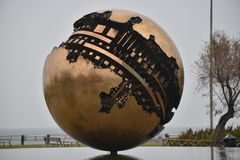 Golden Sphere Monument in Pesaro, Marche region, Italy Stock Images