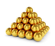 Golden sphere pyramid isolated. 3d rendering of golden sphere pyramid isolated on white background stock illustration