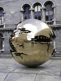 Golden sphere Trinity College. The golden sphere at Trinity College in Dublin Ireland Stock Photos
