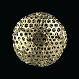 Golden spherical ball 3D rendering. Isolated on a black background Royalty Free Illustration