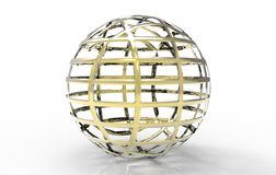 Golden spherical ball 3D rendering. Isolated on a white background Royalty Free Illustration