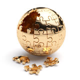 Golden spherical jigsaw puzzle Royalty Free Stock Photography