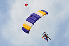 Golden Spike 2011, Czech parachutist, 2011. ATHLETIC STADIUM OSTRAVA-VITKOVICE, CZECH REPUBLIC - MAY 22: Czech fly parachutist in exhibition jump before race Royalty Free Stock Image