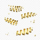 Golden gift bow ribbons confetti vector Birthday, New Year Christmas gifts decoration. Golden spiral bows or gold ribbon and star foil confetti glitter for stock illustration