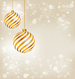 Golden spiral christmas balls Stock Images